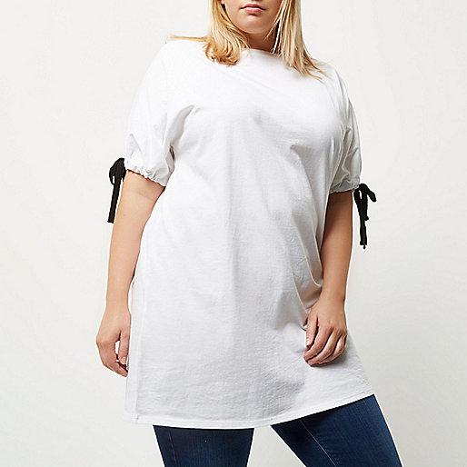 Plus white tie sleeve longline T-shirt