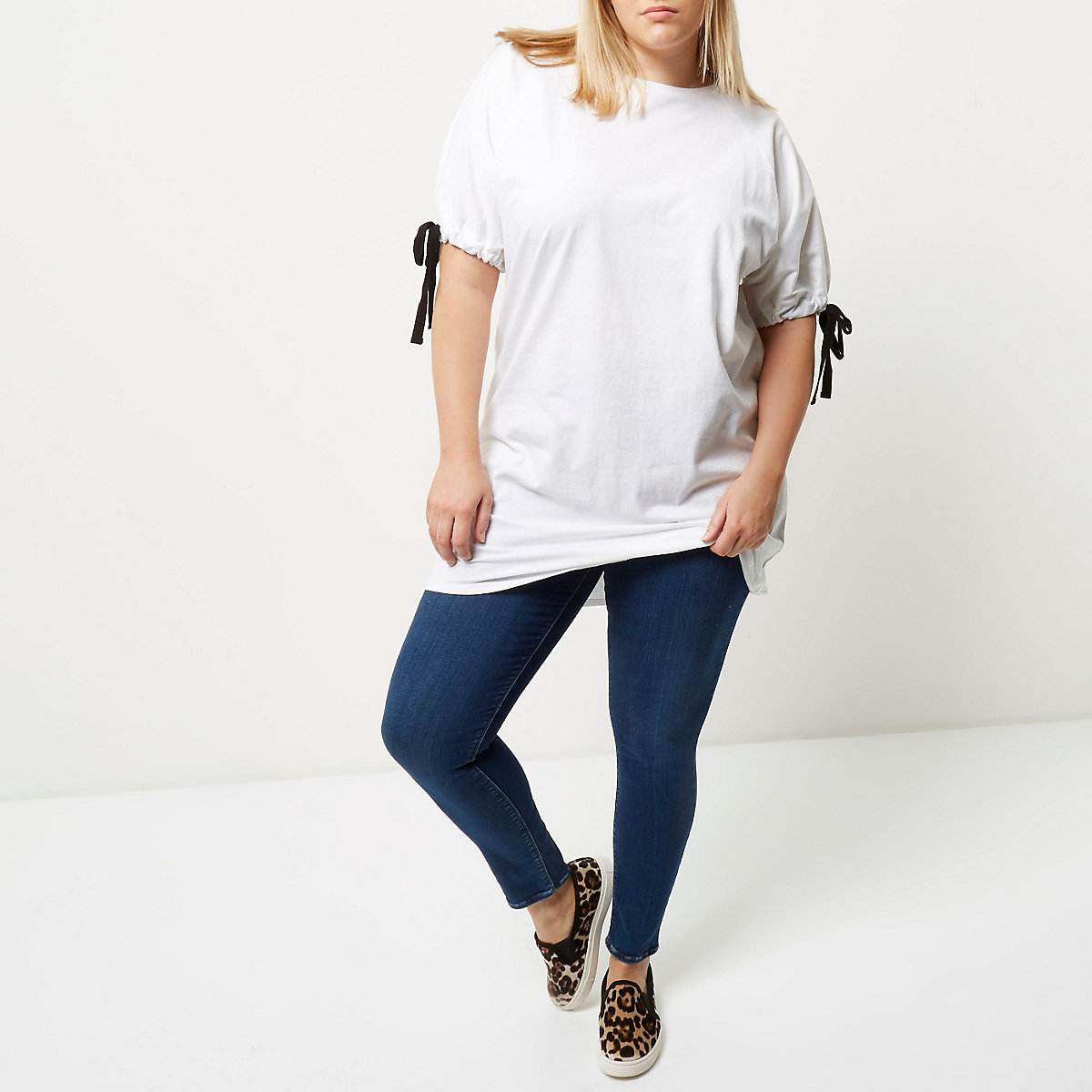 19f98e34dfa4d9 Plus white tie sleeve longline T-shirt - T-Shirts - Tops - women
