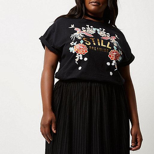Plus black metallic print boyfriend T-shirt