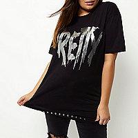 T-shirt Plus long noir à imprimé métallisé