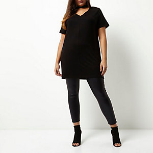 Plus black oversized choker T-shirt