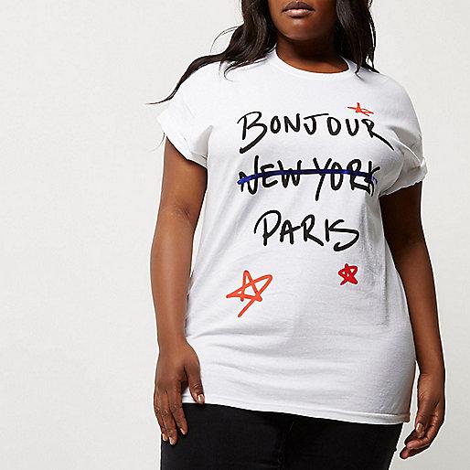 T-shirt Plus blanc imprimé Bonjour