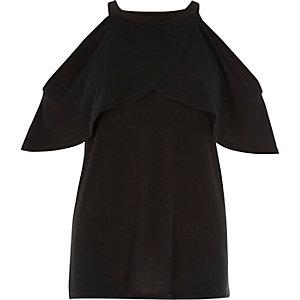 Dark grey cape cold shoulder top