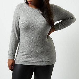 Plus – Grauer Pullover mit Bindeband