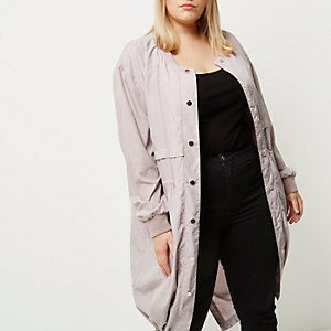 Plus pink longline bomber coat