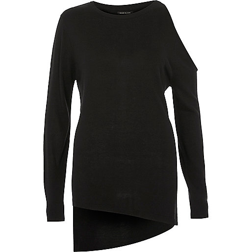 Zwarte asymmetrische top met één schouder