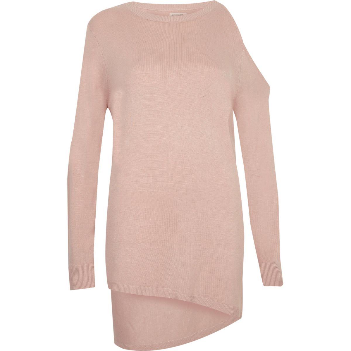 Blush pink asymmetric one shoulder top