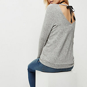 Petite grey marl tie back top