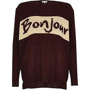 Burgundy knit 'Bonjour' sweater