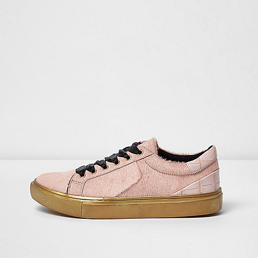 Light pink pony hair platform trainers