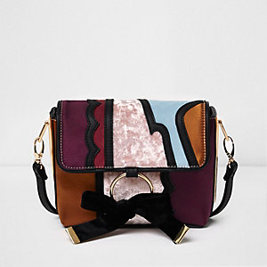 Purple bow front crossbody bag