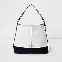 Black and white slouch bag