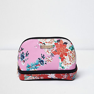 Pink floral multi zip make-up bag
