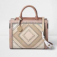 Blush pink large stud and eyelet tote bag