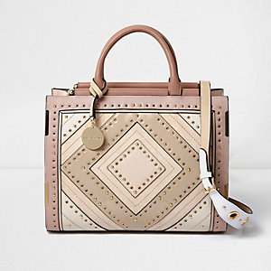 Blush pink large stud and eyelet tote bag