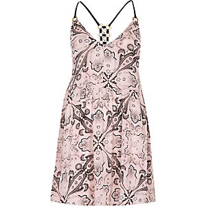 Pink scarf print ring back cami beach dress