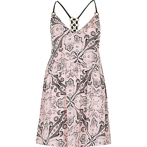 Pink scarf print ring back cami beach dress