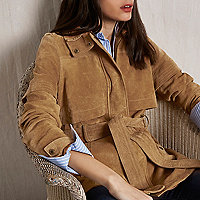 RI Studio tan suede belted jacket