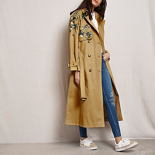 Tan RI Studio embroidered trench coat