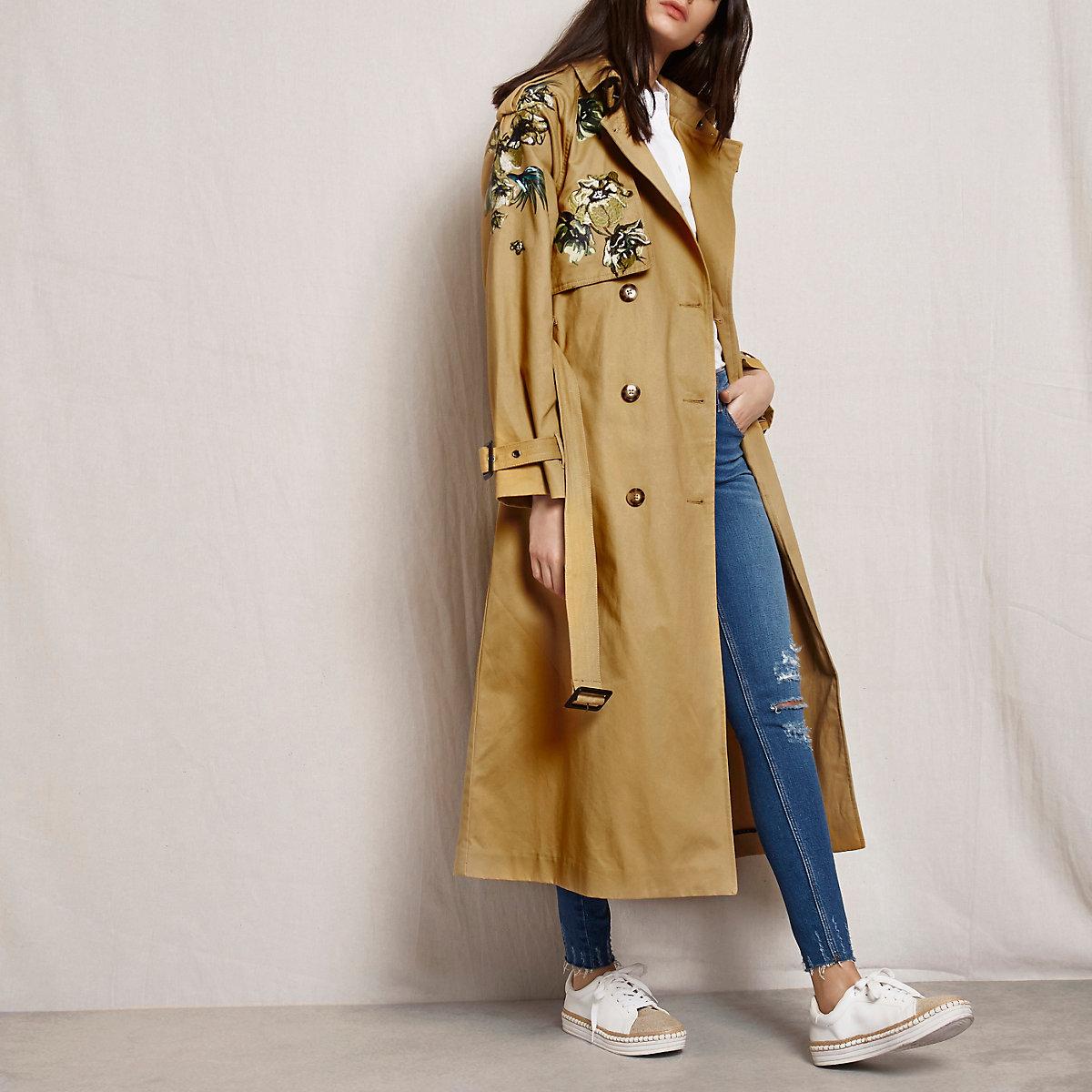 Tan RI Studio embroidered trench coat