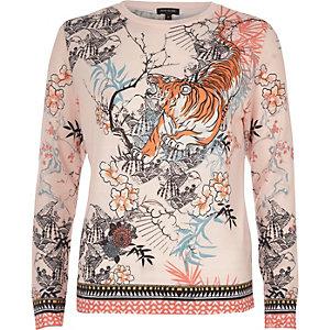 Haut de pyjama en jersey imprimé tigre rose
