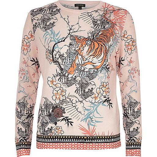 Pink tiger print jersey pyjama top