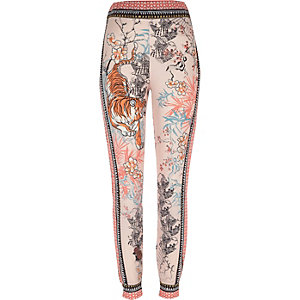 Pink tiger print jersey pajama bottoms