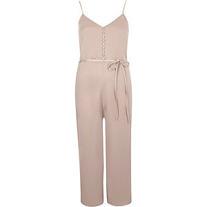 Light pink buttoned cami culotte jumpsuit