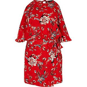 Red floral print cold shoulder romper