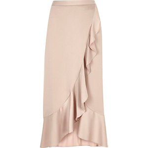 Light pink ruffle maxi skirt
