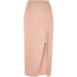 Blush pink lace lining midi skirt