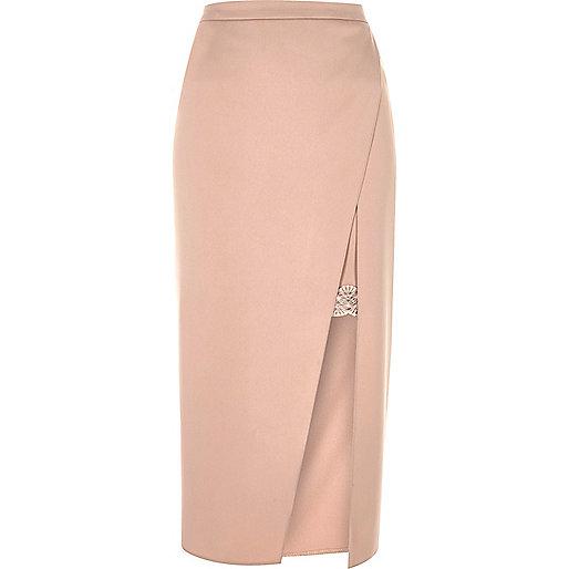 Blush pink lace lining midi skirt