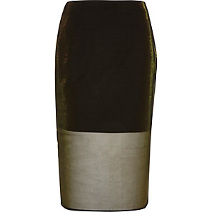 Gold metallic mesh pencil skirt