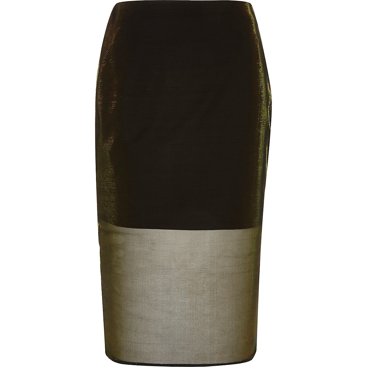Gold metallic mesh pencil skirt