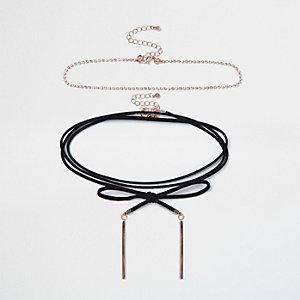 Black wrap diamanté choker necklace