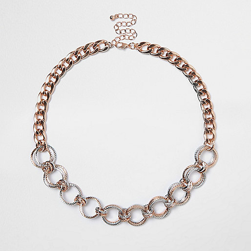 Rose gold tone circle chain necklace