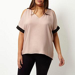 Plus pink cold shoulder V-neck top