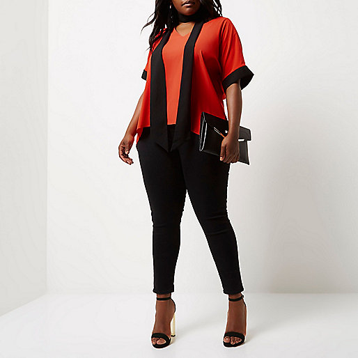 Plus red cold shoulder V-neck top