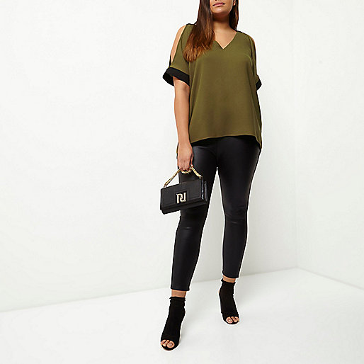 Plus khaki cold shoulder V-neck top