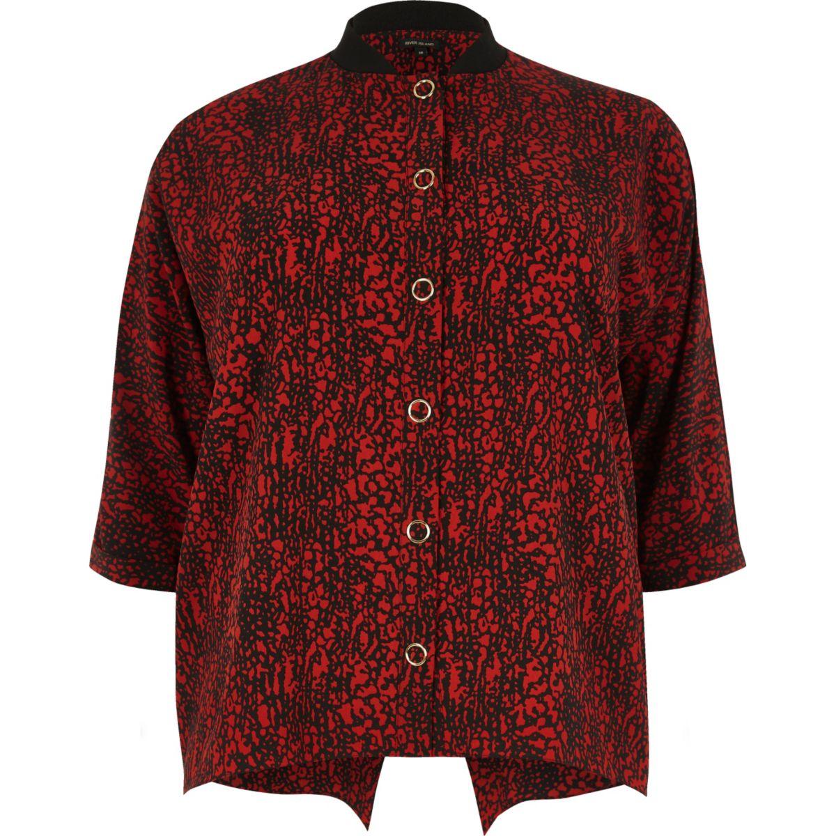 Chemise Plus imprimée rouge à boutons pression