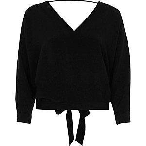 Black textured strap back top