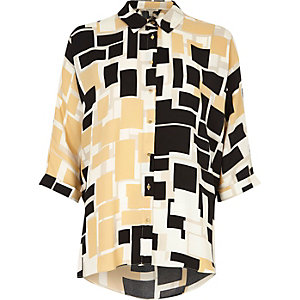 Brown square print twist back shirt