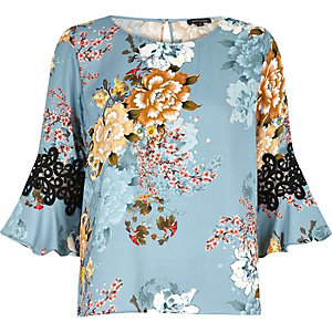 Blue print cord insert bell sleeve top