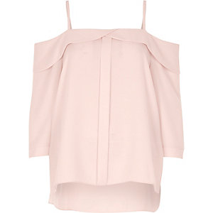 Light pink placket cold shoulder top