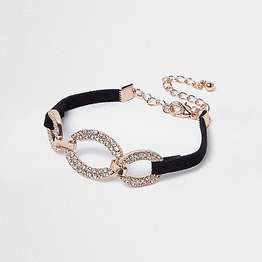 Gold tone diamanté circle bracelet
