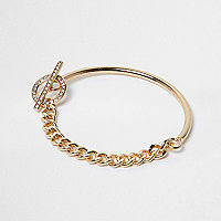 Gold tone T-Bar chain bracelet