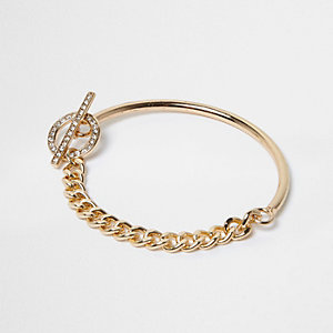 Gold tone T-Bar chain bracelet