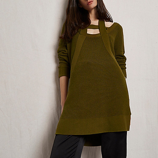Khaki green RI Studio knit cut out sweater