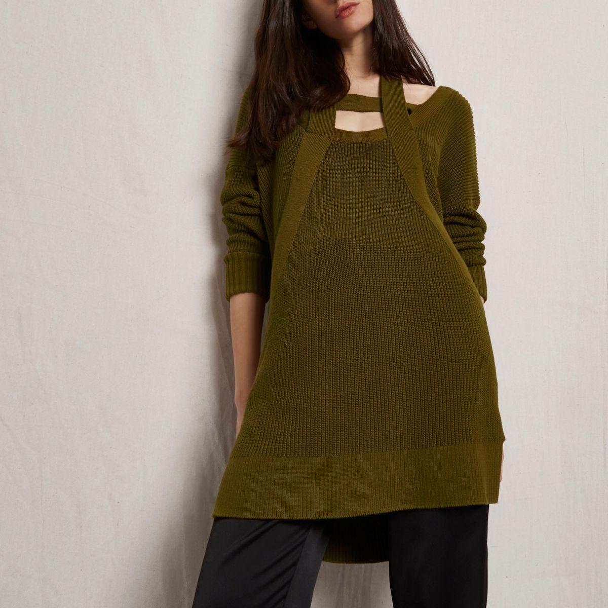 Khaki green RI Studio knit cut out jumper
