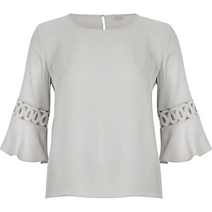 Grey cord insert bell sleeve top